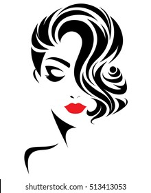 illustration of women short hair style icon, logo women face on white background, vector