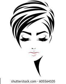 illustration of women short hair style icon, logo women face on white background, vector