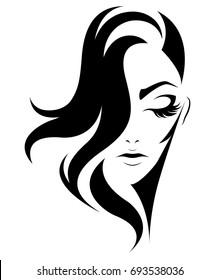 illustration of women short hair style icon, logo women on white background, vector