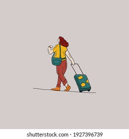 illustration women take a vacation and hold a suitcase on style