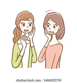 Illustration of women talking about rumors