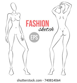 Fashion figure template images stock photos vectors shutterstock illustration of womens figure for designers of clothes outline girl model template for fashion sketching maxwellsz