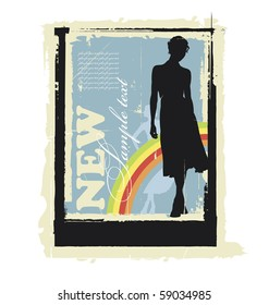 Illustration women's silhouettes. Behind them is a rainbow. Near this area there are a field for text.
