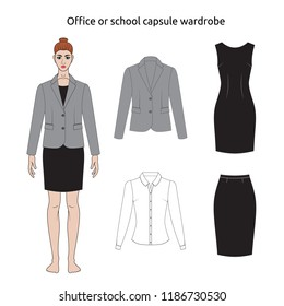 Illustration of women's skirt, shirt, underwear, pants, jeans, t-shirt, longsleeve, cardigan, jacket. Office or school basic capsule wardrobe. Casual style. Technical drawing