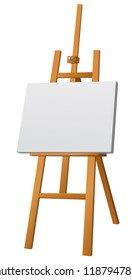 illustration of wood easel with canvas