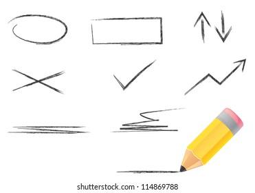 Illustration of wood pencil and line icons set. Isolation set.