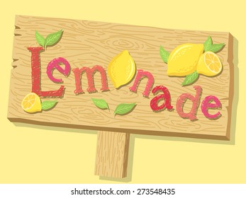 Illustration of a wood sign board of lemonade advertising in yellow background.