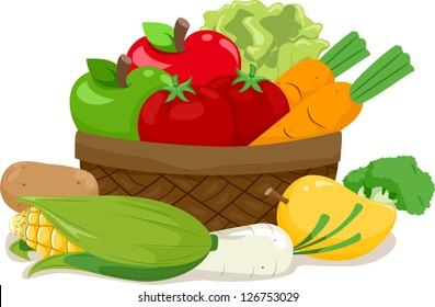 Illustration of a Wooden Basket Filled with an Assortment of Fruits and Vegetables