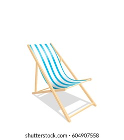 Illustration Wooden Beach Chaise Longue Isolated on White Background - Vector