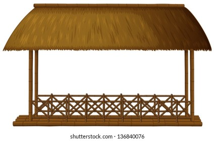 Illustration of a wooden floating cottage on a white background