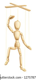 An illustration of a wooden marionette or puppet figure or man on strings
