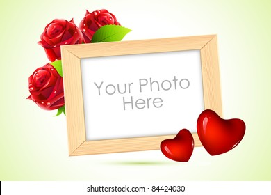 illustration of wooden photo frame with heart and rose