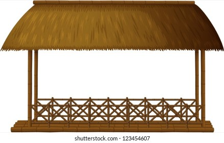 Illustration of a wooden shande on white background