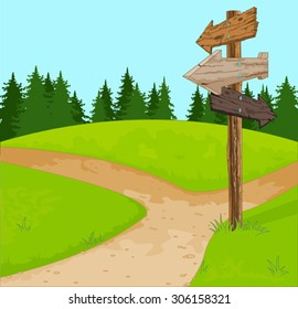 Illustration of wooden sign at the crossroads
