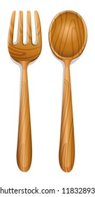 illustration of a wooden spoon on a white background