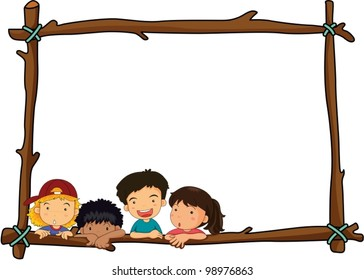 Illustration of wooden stick border with kids