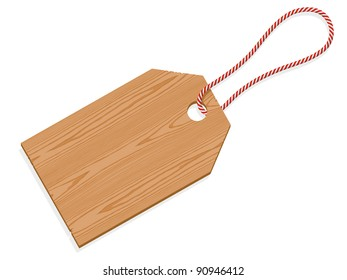 Illustration of a wooden tag label with string isolated on white background