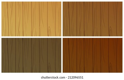 Illustration of the wooden textures on a white background