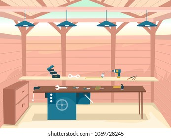 Illustration of a Woodworking Workshop Interior with Different Tools from Toolbox, Tape Measure and Electric Drill