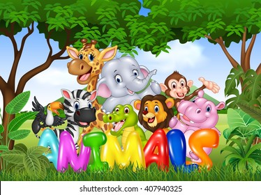 Illustration of Word animal with cartoon wild animal