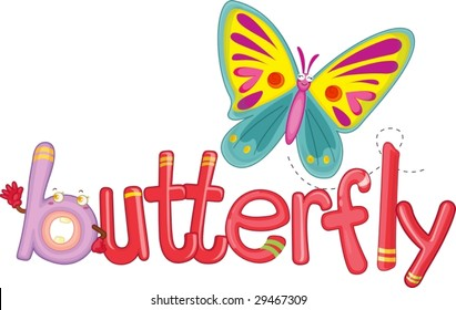 illustration of the word butterfly