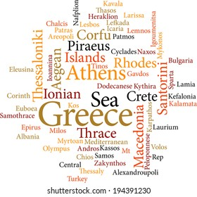 illustration of the word cities of greece in word clouds isolated on white background