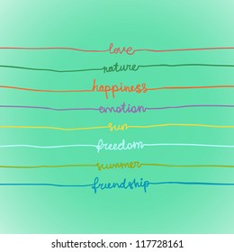 Illustration with words in stripes: love, nature, emotion, happiness, sun, freedom, summer, friendship