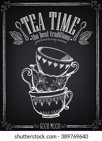 Illustration with the words Tea Time with cups. Freehand drawing with imitation of chalk sketch