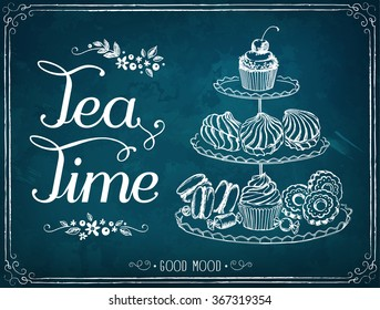 Illustration with the words Tea Time. A three-tiered stand with sweet pastries. Freehand drawing with imitation of chalk sketch