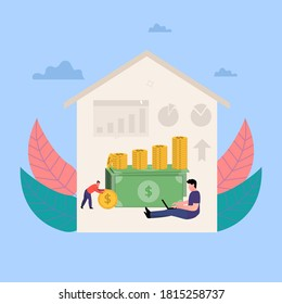 illustration of work from home, passive income, earn money from home