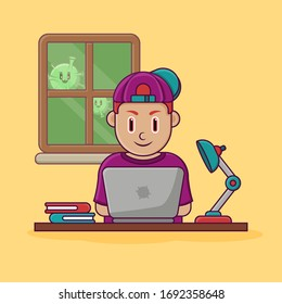 illustration work from home, young man wear hat in front of laptop