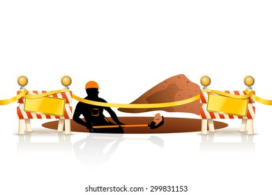 illustration of worker digging a hole with showel on white background