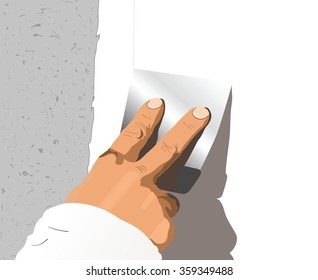Illustration of worker or mason with spatula and plaster or cement doing renovation
