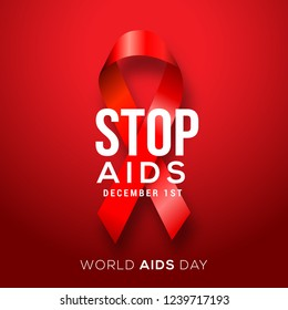 Illustration Of World Aids Day With Aids Awareness Ribbon.