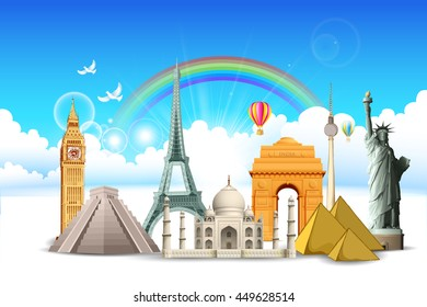 illustration of world famous monument in cloudscape for travel concept