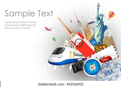 illustration of world famous monuments with travel element in tourism background