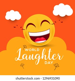 Illustration Of  World Laughter day Background With Smiley Emoticons.