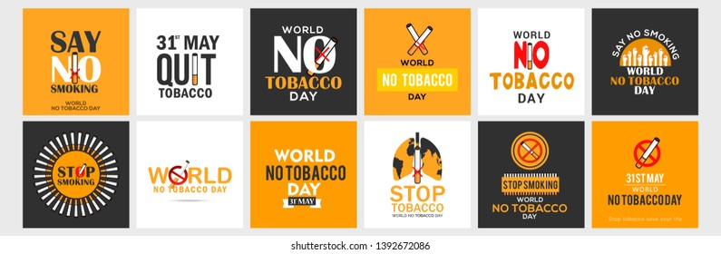 Illustration Of World No Tobacco Day Banner Or Poster Design Set With No Tobacco Theme Background.