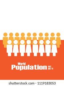 Illustration of a World Population Day.The people standing simultaneously on World Population Day