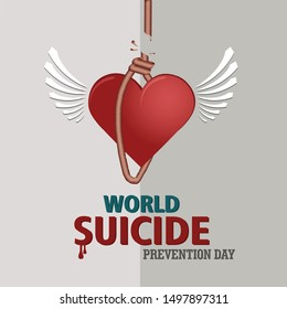 an illustration for world suicide prevention day with robes icon as a symbol of suicide.