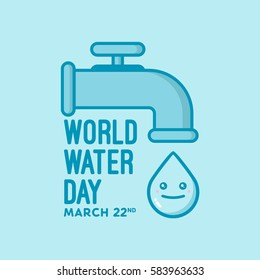 Illustration of world water day campaign that celebrated on march 22nd. A faucet and water drop as a symbol.