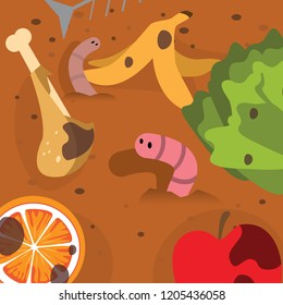 Illustration of worm in Compost Poster Background Vector fit for using as go green and safe earth campaign decompose in landfill