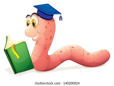 Illustration of a worm reading wearing a graduation cap on a white background