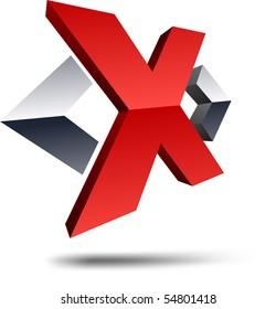 """Illustration of """"X"""" 3d design element."""