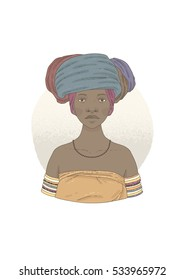 Illustration with Xhosa woman. Vector illustration isolated on white