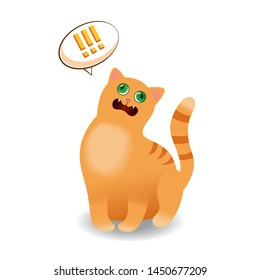 Illustration of yelling red cat isolated on a white background