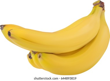 illustration with yellow banana isolated on white background