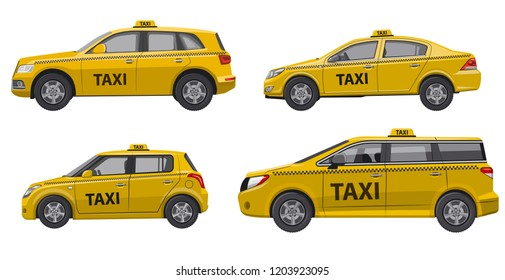 illustration of yellow different type of taxi service cars