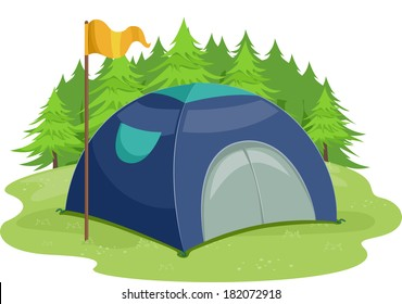 Illustration of a Yellow Flag Standing Beside a Camping Tent/