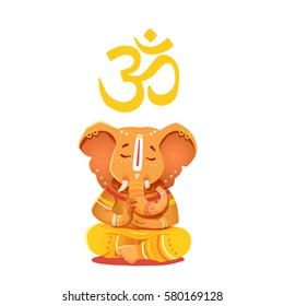 Illustration yellow Ganesh with Om symbol. Deity of the elephant-headed Indian god of wisdom and prosperity. Ganesh character can be used to print.